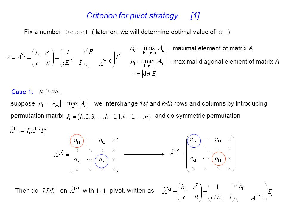 Criterion for pivot strategy [1]